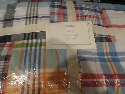 Pottery Barn Kids Madras crib quilt New with tags