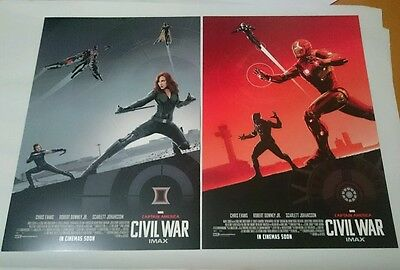 Captain America Civil War IMAX Poster Set 2  3 Marvel Iron Man Promo Black Widow