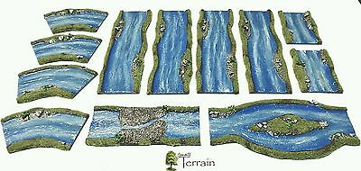 Wargames Terrain scenery 12pc Resin Rivers -  Bolt Action Warhammer - PAINTED