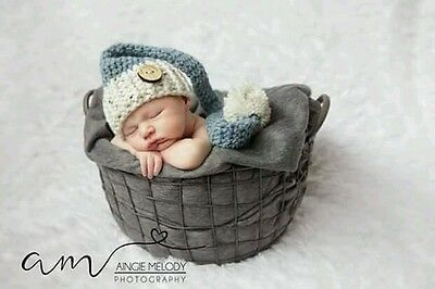 1#Hand made crochet newborn baby  long tail elf hat with pom pom a photo prop,