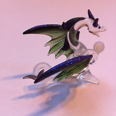 Collectible Tiny Handcrafted Glass Dragon With Crystal Ball Mystical Creature