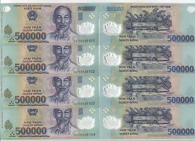 2 MILLION Vietnam Dong 4 x 500,000 UNCIRCULATED Polymer Currency 2,000,000 VND