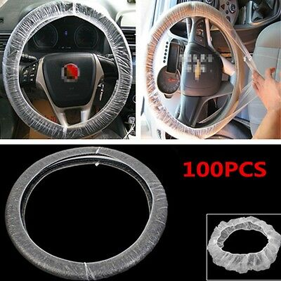 Universal Car Steering Wheel Covers Disposable Plastic Protector Covers 100PCS