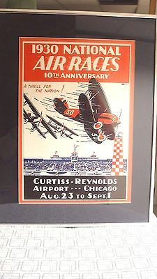 Framed 1930's National Air Races Poster - Curtiss-Reynolds Airport, Chicago