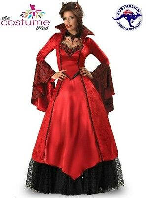Ladies Devil Vampire Medieval Gown Costume Gothic Sizes 10-22 Halloween