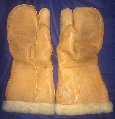 Vtg WWII USAF U.S ARMY AIR FORCE TYPE A-9-A Leather Flying Gloves Mittens LARGE