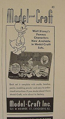 1946 Donald Duck & Nephew Model Craft Molding & Coloring Set Print Ad