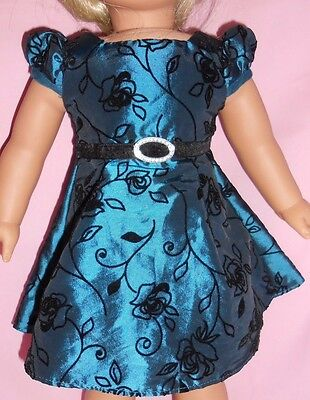 "fits American Girl doll 18""  DARK BLUE-GREEN CHRISTMAS HOLIDAY DRESS"
