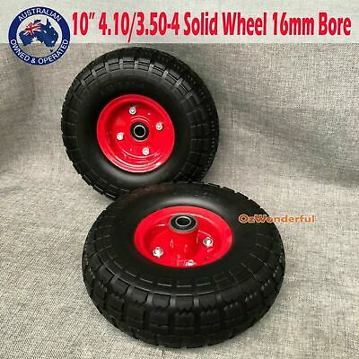 "2pcs 10""x3.5""x4"" 16mm Bore Solid Tyre Wheels Wheelbarrow Puncture Proof Trolley"
