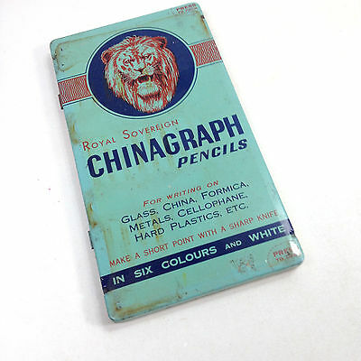 Vintage ROYAL SOVEREIGN CHINAGRAPH PENCILS TIN With Original Contents