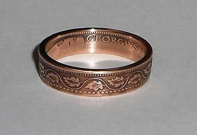 Coin Ring handmade from 100 year old Canadian large cent size 6-13