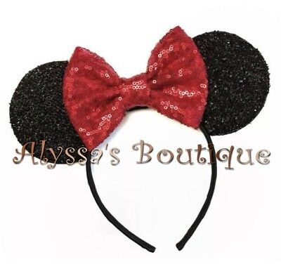Minnie Mouse Ears Headband Shiny Black Red Bow Birthday Party Favors Cute New