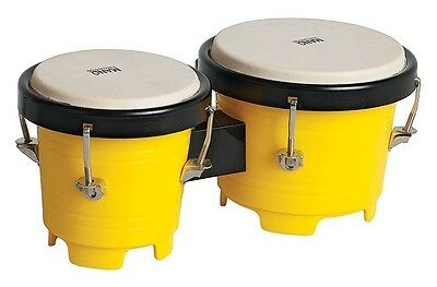 Mano Percussion Tunable Mini Bongos Yellow Plastic With Tuning Key – Tdk16Yl