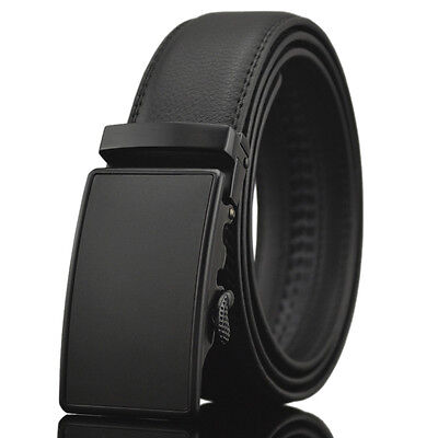 Fashion Casual Solid Black Genuine Leather Mens Belt Auto Buckle Waistband Strap