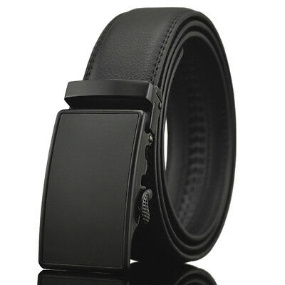 Fashion Luxury Casual Black Leather Automatic Buckle Mens Belt Waistband Strap