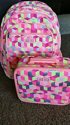 Justice backpack and lunchbox girls bag  set new