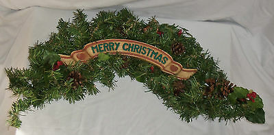 """24"""" Merry Christmas Foliage Pinecone Holly Berry Sign Wreath Garland Swag Plaque"""