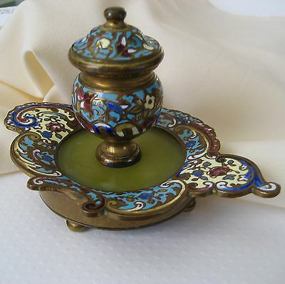 Antique 1800's French Champleve Encrier INKWELL Cloisonne Agate