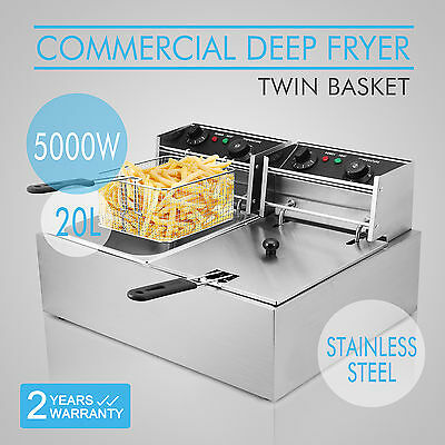 NEW Commercial Deep Fryer Electric - Double Basket - Benchtop - Stainless Steel