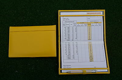Traditional Yellow leather golf scorecard holder - Original and Best