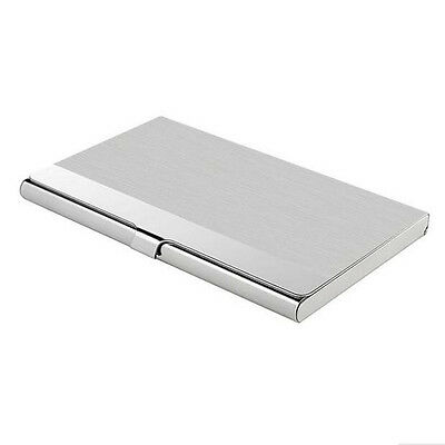 Office Pocket Stainless Steel  Business Card Holder Case ID Credit Wallet Silver