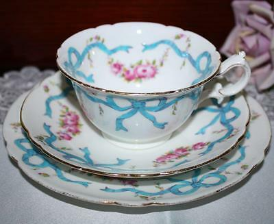 Rare Foley, pre Shelley UK TRIO Cup,Saucer &  Plate RIBBONS & ROSES Pattern 7733