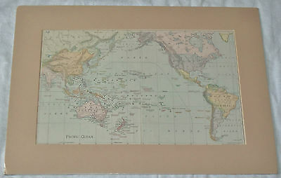 Vtg 1894 Rand McNally North & South Pacific Ocean Engraved Lithograph Map Matted