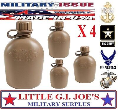 4 USMC NEW U.S. Military Issue Plastic 1Qt Canteen 3Pc Coyote Brown US MADE 936