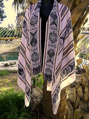 Mexican Ethnic Triangle Black White Fish Poncho Shawl Wool Blend Medium Large