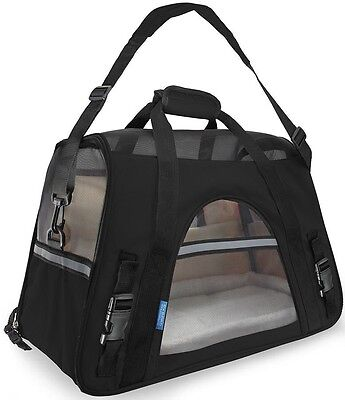 Pet Carrier Soft Sided Small Cat / Dog Comfort Black Travel Bag Airline@09