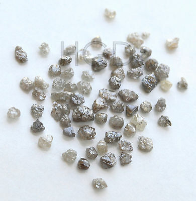 100% NATURAL Loose Rough Raw Uncut Rare Real Diamonds Dark Grey 2.60mm 10 crts+