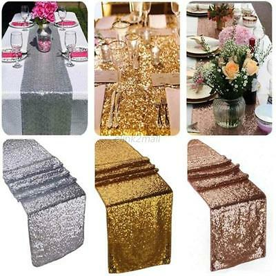 Silver Glitter Sequin Bed Table Runner Sparkly Wedding Party Decor 12x108inch UK