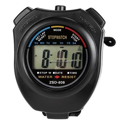 Counter Sports Professional Chronograph Watch LCD Digital Timer Stopwatch Stop
