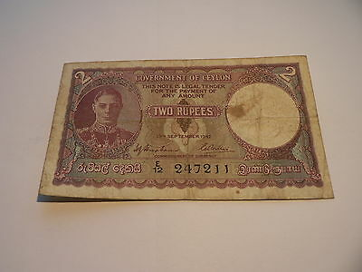 Banknote Government of Ceylon 2 Rupees 1942