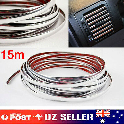 New 15M 10MM Chrome Moulding Trim Strip Car Door Edge Scratch Protector Cover AU