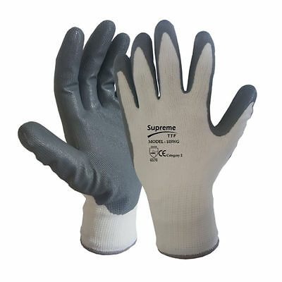 24 Pairs White Grey Nitrile Coated Work Gloves Builders Gardening Grip