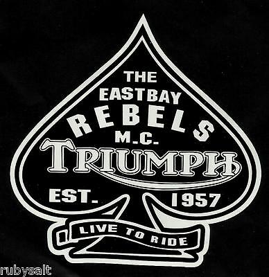 """""""the East Bay Rebels Club"""" Triumph Motorcycle Vinyl Decal Sticker Cafe Racer Hog"""