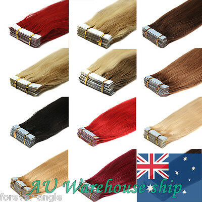 Seamless Tape in Weft Human Hair Extensions 100%Remy Real Straight Various Color