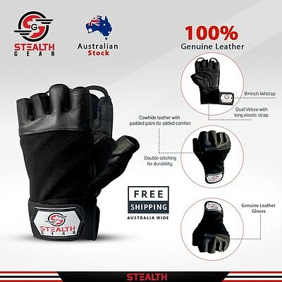 Original Leather Gym Weight Lifting Gloves Long Wrist Support Crossfit Fitness