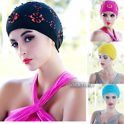 Women Durable Stretch Swim Caps Polyester Swimming Swim floral Cap Bathing Hat