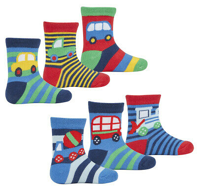 6 Pairs Baby Boys Design Socks Newborn Infant Cute Car Cotton Rich Striped UK