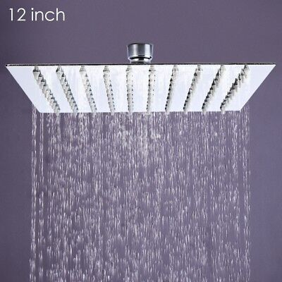 12'' Square Rain Shower Head Stainless Steel High Pressure Ultra Thin Brushed