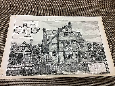 1883 Antique Architects print - The Red House - ESHER - plans