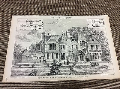 1887 Antique Architects print - New House - Maidenhead Thicket - Berks  - plans