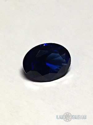 Sapphire Blue Dark Oval 8x6 mm 1 Ct. Monosital Created Gemstone. US@GEMS