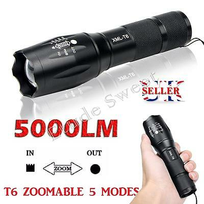 Police LED Flashlight Tactical 5000LM XML-T6 Zoomable Torch Lamp 18650 AAA UK