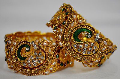 Indian Peacock Design Gold CZ Bangles Bracelets Bridal Pearl Jewelry f10B20 2.8""