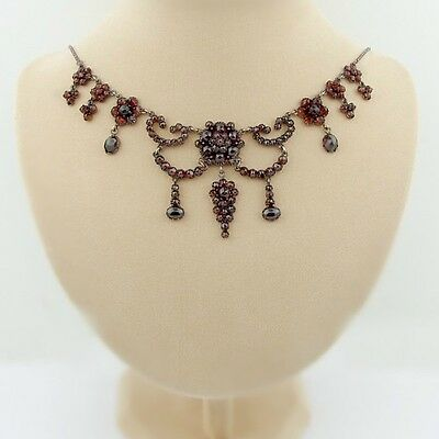 Gorgeous Vintage garnet festoon necklace in Victorian style|| ГРАНАТ