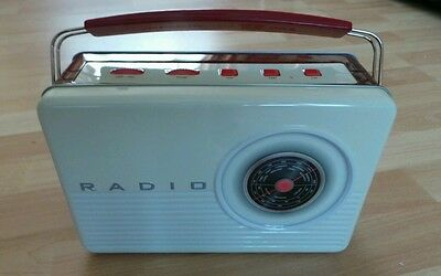 Collectable  Retro Radio Shaped Biscuit  Tin Ivory With   Biscuits