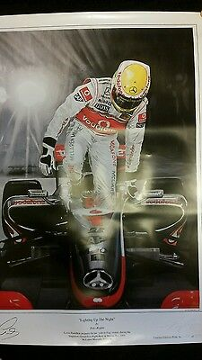 Lewis Hamilton lighting up the night limited edition print signed by artist